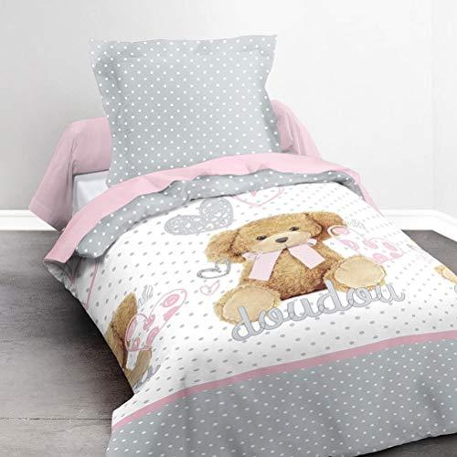 TODAY Happy Doudou Girl-Parure HC1 : Housse de Couette Ourson 140x200 + 1 Taie d'Oreiller 100% Coton, (57 Fils), Rose/Blanc, 140x200 cm