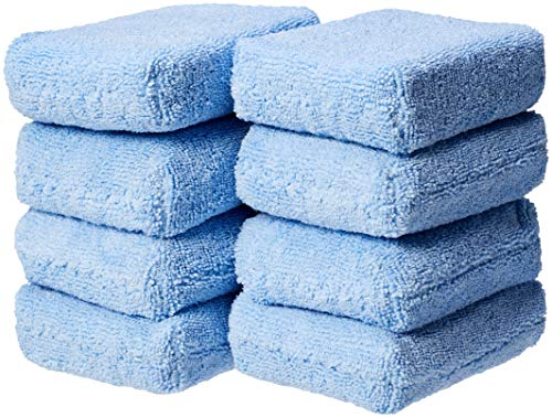 AmazonBasics Microfiber Car Applicator Pads, Blue, 8 Pack