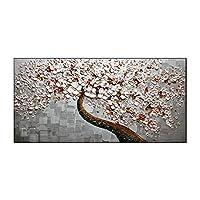 """パレットナイフペイントヘビーテクスチャ100%ハンドペイントオイルアート絵画抽象フローラルキャンバスウォールアートホームオフィスデコレーションフレームなし(60 * 120cm /23.6""""x47.2"""
