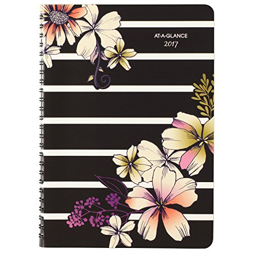 """AT-A-GLANCE Weekly / Monthly Planner / Appointment Book 2017, 5-1/2 x 8-1/2"""", Stripe Floral (578-200)"""