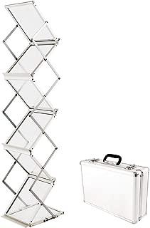 Sign Talk Zigzag Pocket Magazine Brochure Literature Catalog Holder Rack Stand Trade show Display w/Aluminium Case(6 Pockets)