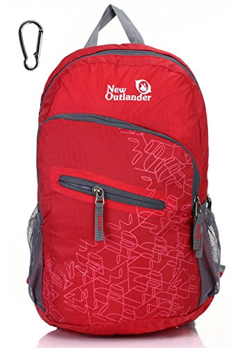 Outlander Packable Handy Lightweight Travel Hiking Backpack Daypack-Red-L
