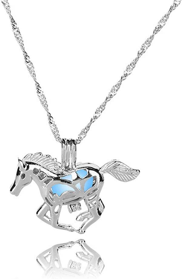 Weiy Luminous Hollow Horse Pendant Glow in The Dark Alloy Open Locket Necklace Creative Women Party Ornament,Blue