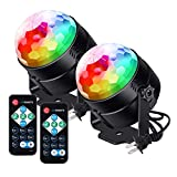Litake Party Lights Disco Dance Ball Lights LED Club Lights, 7 Patterns Sound Activated with Remote Control Dj Ball Lights Stage Light for Party Dance Club Show Karaoke Home Wedding 2 Pack