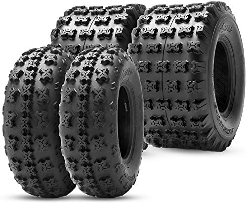HALBERD ATV Tires, 21x7-10 20x10-9 Sport Quad ATV Tires, 4PR 21x7x10 20x10x9 All-Terrain Tires Compatible for Yamaha Raptor 350 660 700 YFZ450 Polaris Outlaw 525 Predator 500(4 Pack, Tubeless)