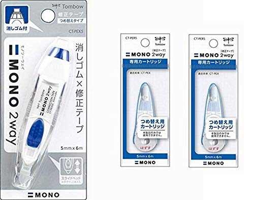 Tombow Mono 2-Way Correction Tape Clear 1-Pack+ Refill 2 Pack