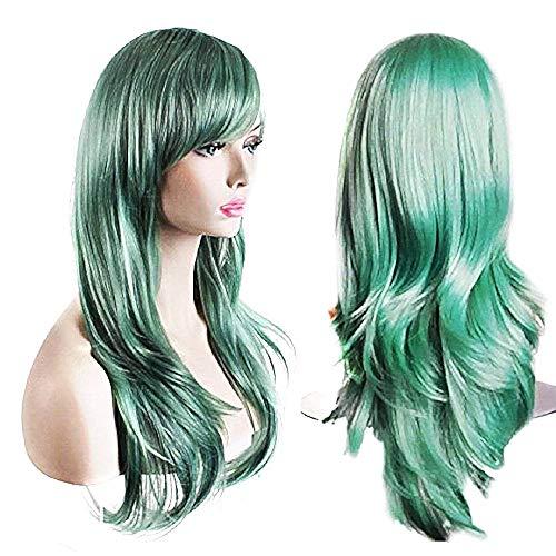 Lange pruik - golvend haar - synthetisch - vermommingen - 65 cm vrouw - halloween - carnaval - pastel groen - origineel cadeau-idee cosplay