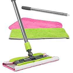 LINKYO Microfiber Hardwood Floor Mop with 3 Flat Mop Pads