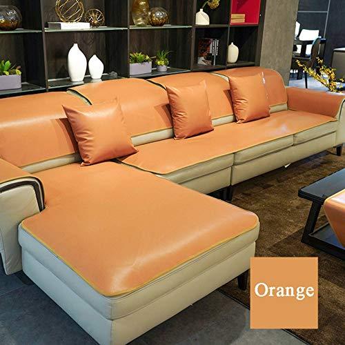 GOPG Funda de sofá de piel, estilo europeo, antideslizante, resistente al agua, resistente a los arañazos, transpirable, protección de muebles, para salón 1, 2, 3, 4 plazas, naranja, 80 x 210 cm