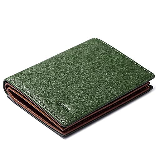 ACLUO 小さい 財布 メンズ 国産レザー 二つ折り財布 コンパクト 薄い ミニ財布 ボックス小銭入れ グリーン(グリーン)