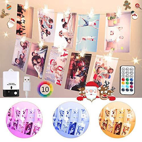 Bunt Foto Clips Lichterkette für Zimmer, USB & Batterie 2M 20 LED Lichterkette mit 20 Klammern für Fotos mit Fernbedienung, 10 Farben Lichterkette Bilderrahmen für Wohnung, Haus, Geburtstag, Party