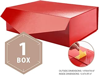PACKHOME Large Gift Box Rectangular 14x9.5x4.5 Inches, Bridesmaid Proposal Box, Sturdy Storage Box, Collapsible Gift Box with Magnetic Closure (Glossy Red, 1 Box)