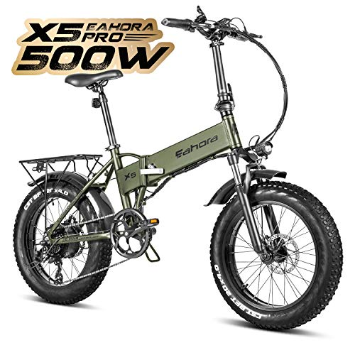 Eahora X5 Pro 20 Inch 48V 500W Folding Electric Bike 10.4Ah 4.0 Fat Tires Snow Beach Electric...
