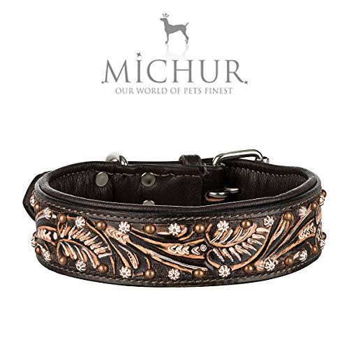 MICHUR Joris Hundehalsband Leder, Lederhalsband Hund, Halsband, Leder, Schwarz Braun mit Rundnieten und Steinchen,in verschiedenen Größen erhältlich