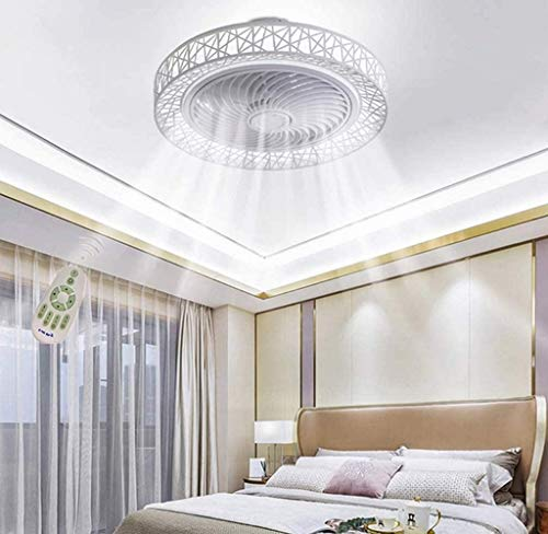 ZHANGL Moderno ventilador de techo simple Luz de techo 50 cm LED Bird Nest Fan Light Dimmable Light, con control remoto, usado en dormitorio, sala de estar y comedor, velocidad de viento ajustable, bl