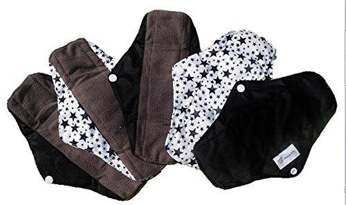 5er Set NATUR TK Biologische Bambus Naturbinden, Stoffbinden, Textilbinden, Binden dunklen 5 schwarz stern