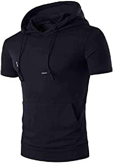 VITryst Men's Pocket Relaxed Fit Pure Colour Fashion Summer Tees Top with Hood