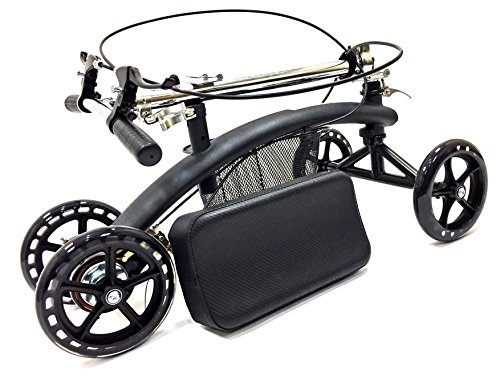 BodyMed Folding Knee Scooter with Dual Braking System and Basket - - Great Alternative to Crutches - Broken Leg Walker - Steerable Mobility Device for Foot Or Ankle Injury