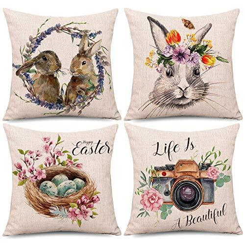 4 fundas de almohada de Pascua, lona de Pascua, funda de cojín con conejo, conejo, flor de huevo, primavera, temporada, algodón, sofá, cama, decoración (45,72 x 45,72 cm)