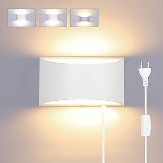 Glighone Applique Murale Interieur LED 3 Températures avec Interrupteur Fil 12W Lampe Murale Moderne Up Down Éclairage Mur...