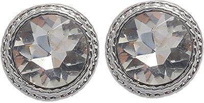 Rotonda Vintage orecchini con una pietra–Vintage orecchini argento colorato–bigiotteria