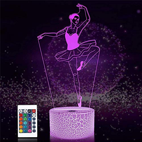 3D LED Illusion Lamp Night Light Gaming Gifts for Boys Ballet Dancer 1 16 Colors Auto Changing Desk Decoration Lamps Birthday Gift with Remote Control