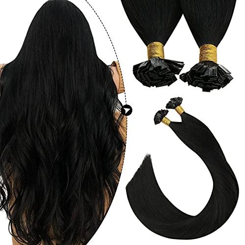 Ugeat Flat Tip Bondings Echthaar mit Keratin 60cm Remy Haarverlangerung Fusion Glue Sticks Extension 100% Brasilianische Haare Naturliches Schwarz 50 Strahnen 50 Gramm