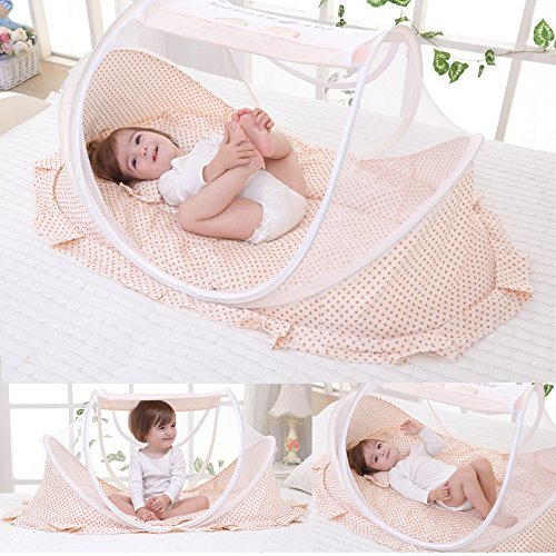 Baby Travel Bed Outdoor Pop-up Mosquito Net Newborn Portable Folding Insect Tent Infant Foldbale Crib Nettting (Beige)