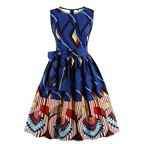 Wellwits Women's Waist Tie Stripes Ethnic African Print Vintage Swing Dress M Navy