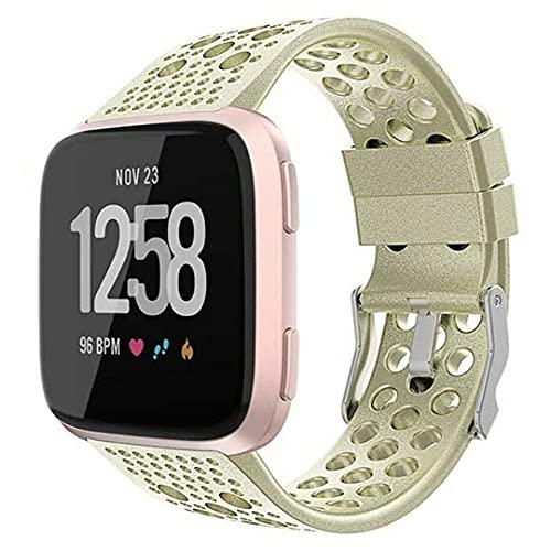 G-RF Bandas De Reloj para Fitbit Versa 2 / Versa/Versa Lite SE con Orificios De Ventilación Pintura En Aerosol Correa (S,Oro Champagne)