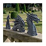 Large Dragon Gothic Garden Decor Statue - The Dragon of Falkenberg Castle Moat Lawn Statue, Garden Sculptures & Statues, Yard Art, Funny Outdoor Figurine, Frost and Winter-Resistant Statue for Garden