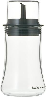 iwaki(イワキ) 耐熱ガラス 調味料入れ 醤油差し 液だれしない ブラック S 120ml フタ付き KT5031-BK