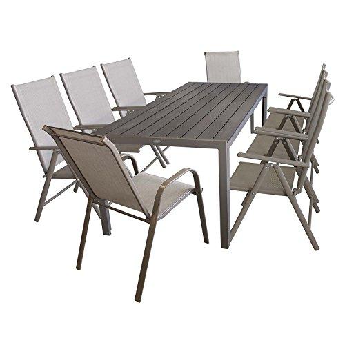Multistore 2002 - Conjunto de muebles de jardín de 9 piezas (mesa de aluminio y madera sintética polywood de 205 x 90 cm, 2 sillas apilables y 6 sillas de respaldo alto)