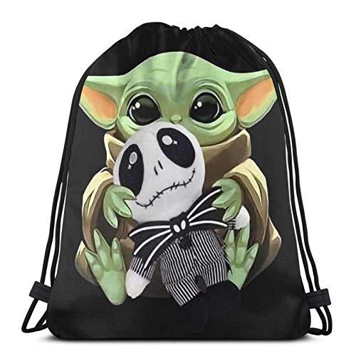 IUBBKI Mochila con cordón con estampado, bebé #Yoda Hug Jack #Skellington Vintage, bolsa de cuerda Mochila Cinch Bolsa de playa de nailon resistente al agua para gimnasio, compras, deporte, yoga, cal