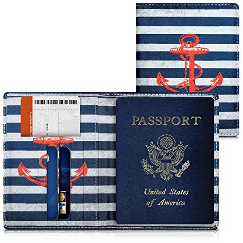 kwmobile Porta passaporto in pelle sintetica - Scomparti carte foderina per passaporto in similpelle - Custodia porta documento - rosso/blu scuro/bianco Ancora vintage