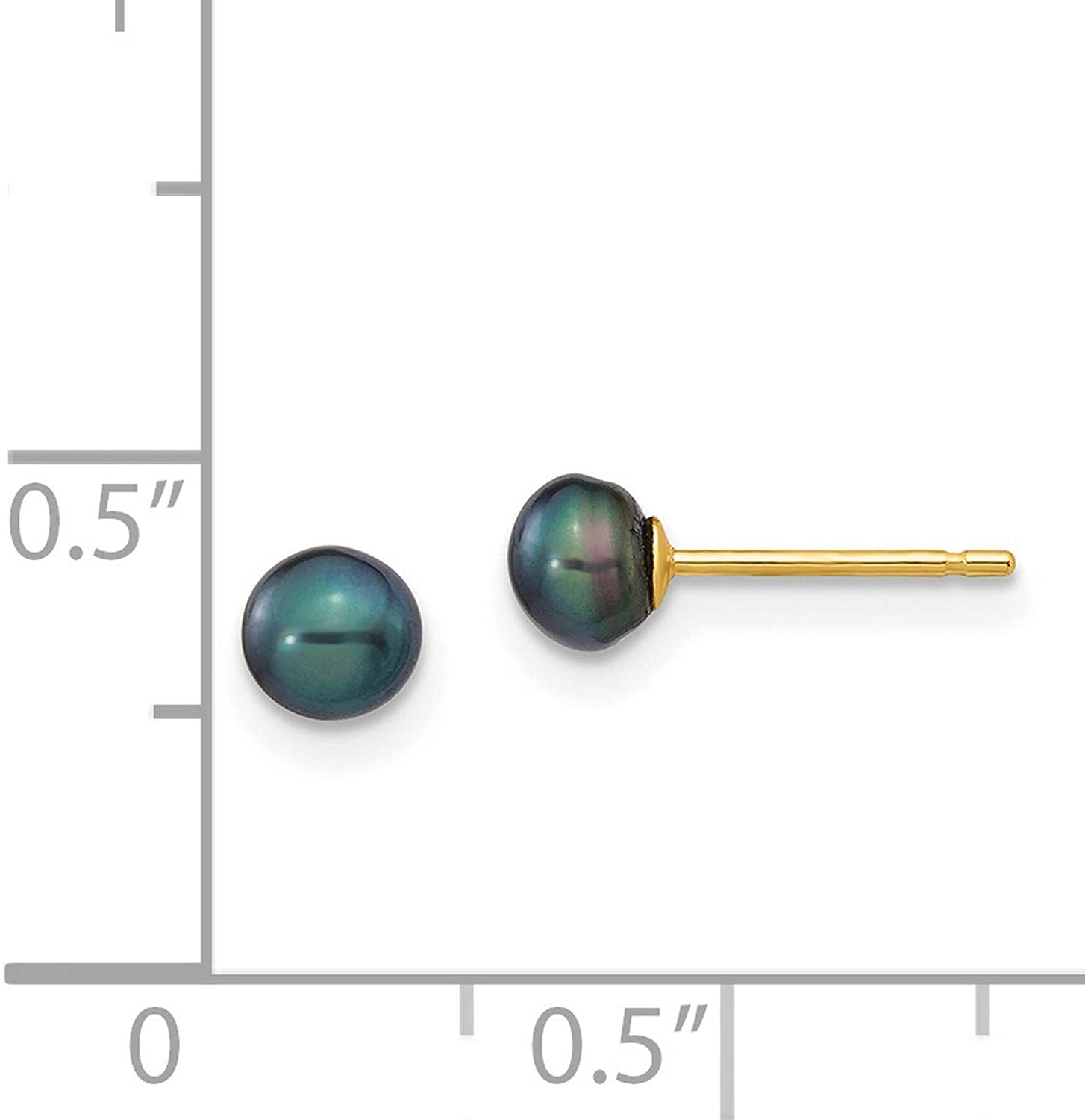 14k Yellow Gold 4-5mm Black Button Freshwater Cultured Pearl Earrings 4x4 mm