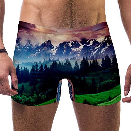CHINFY Herren Badehose Schöne Aussicht Alpine Meadows Kreative Collage Badehose Shorts Athletic Bademode Boxershorts Boardshorts Gr. 56, mehrfarbig