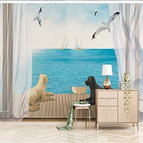 Muurschildering achtergrond 3D aangepaste foto behang natuur landschap behang hond zee scène behang wandafbeeldingen voor woonkamer wooncultuur, aFcvs13