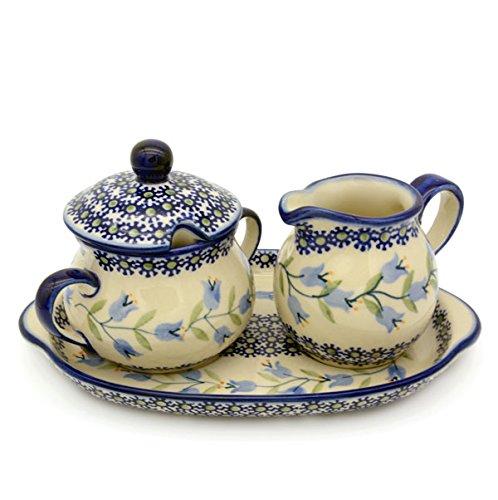 Bunzlauer Keramik Milch- und Zucker-Set mit Untersetzer (Dekor Agnes)