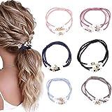 Awanka Conjunto de corbatas para el pelo de perlas, color negro, elástico en capas, coleteros delicados, bandas para el pelo para mujeres y niñas, 6 unidades