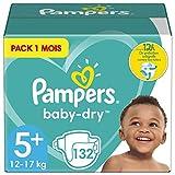Pampers Couches Baby-Dry Taille 5+ (12-17kg) Jusqu'à 12h Bien Au Sec et Avec Double-Barrière Anti-Fuites, 132 Couches (Pack 1 Mois)