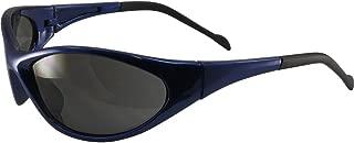 Global Vision Reflex Padded Motorcycle Safety Sunglasses Blue Frame Smoke Lens ANSI Z87.1