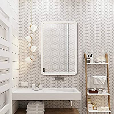 """TinyTimes 22""""×35"""" Large Wood Framed Wall Mirror, Rounded Corner, Rectangular Mirror, Home Decor, Hangs Horizontal or Vertical, for Vanity, Entryways, Bathroom, Bedroom Dresser Mirror -White"""