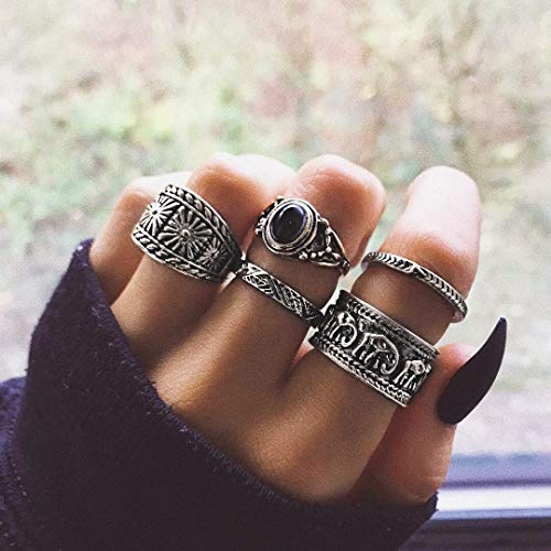 BERYUAN Vintage Casual Women Statement Silver Ring Set Elephant Balck Onyx Ring Gift For Her Gift For Girls Teens Jewelry Rings Size 4 5 6 7(5Pcs)