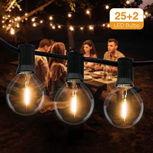 Guirnaldas Luces Exterior, Litogo Cadena de Luces 9,5m G40 25+2 LED Guirnalda...