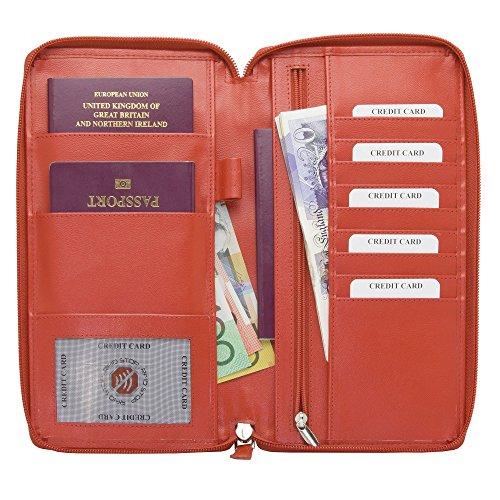 Blocco RFID Executive da viaggio Portafoglio Passaporti biometrici Schermo Porta carte di credito e bancomat documento, Kuk-47r, Rosso