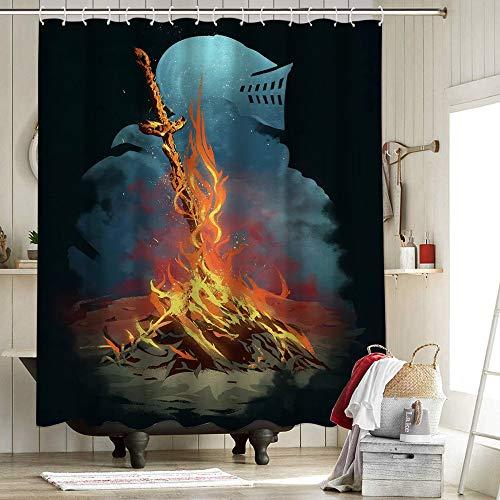 Dark Souls 3 Bonfire Artorias And Sif Cortina de ducha para baño, decoración de baño, Retina, creativa artefactos de juego almas Bonfire Artseele Tattoodark Souls 72 x 84 pulgadas