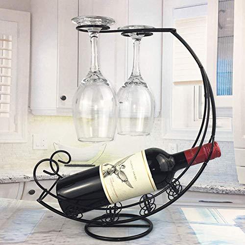 Flaschenhalter aus Metall für Weinregal, Glashalter zum Aufhängen, Schwarz, Free Size