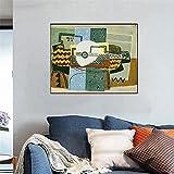 WKAQM Picasso Todavía Vida con Mandolina De la Lona Pared Arte Resumen Cartel Impresiones Famosos Vintage Pintura Vivir Cuadro Decoración Sin Marco