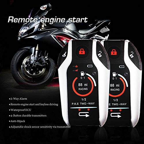 Two Way Motorcycle Alarm Device Anti-theft Security System Remote Engine Automatically Lock/Unlock for Scooter Motorbike Universal